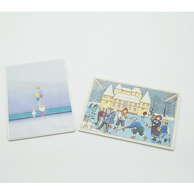 Two Villeroy and Boch Card Tiles, Including Winter Scene and Colorful Balloons