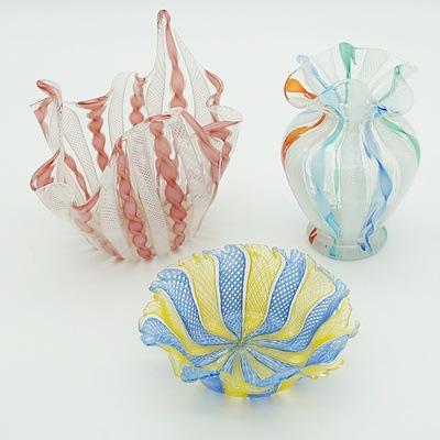Venetian Lattachino Bowls and Handkerchief Vase