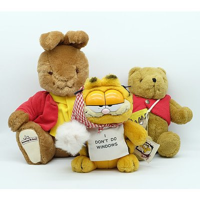 Group of 3 Teddies Including Pooh-bear, Garfield and Peter Rabbit
