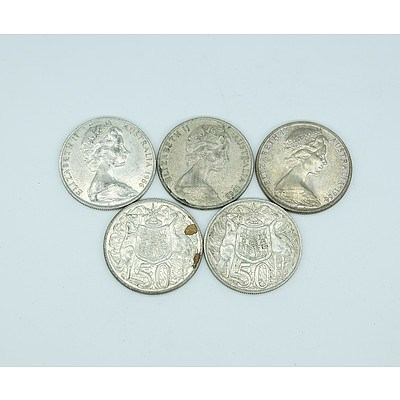 Five 1966 Australian Round 50 Cent Coins