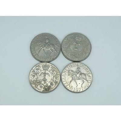Four Elizabeth II 1977 Commemorative Anniversary Medallions
