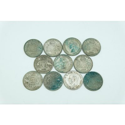 Eleven Australian Florins Including 1952, 1953, 1956, 1958, 1960, 1961, 1962 and 1963