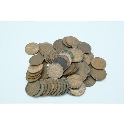 Seventy Three Commonwealth of Australian George V Half Pennies