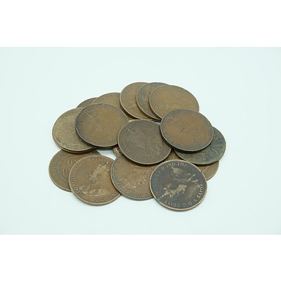 Seventeen One Penny Coins