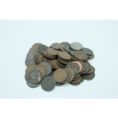 Group of One Penny and Half Penny Coins
