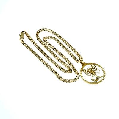14ct Yellow Gold Filed Curb Linked Chain with 14ct Yellow Gold Round Scorpio Pendant, 28.8g