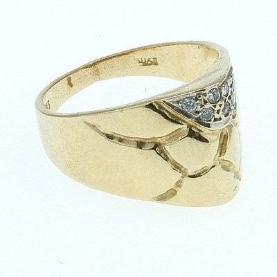 14ct Yellow Gold Dress Ring With Colourless Gems