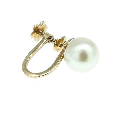 9ct Yellow Gold Single Screw on Earring with Round Cultured Pearl