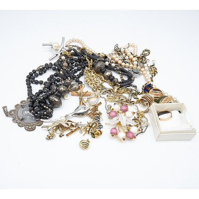 Group of Various Necklaces, Earings, Pins and More
