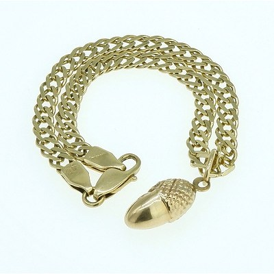 14ct Yellow Gold Double Filed Curb Link Bracelet with Acorn Charm, 7.8g