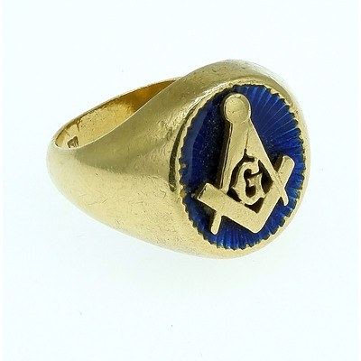 18ct Yellow Gold and Enamel Gentlemans Masonic Signet Ring