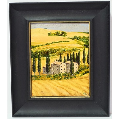 Toscana Village Scene Oil on Board
