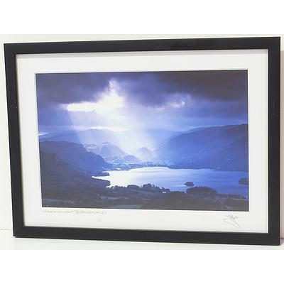 Two Signed Photographs and Two Framed Textiles