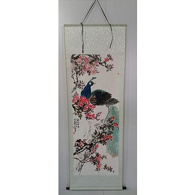 Chinese Ink Hanging Scroll With Peacock and Peony