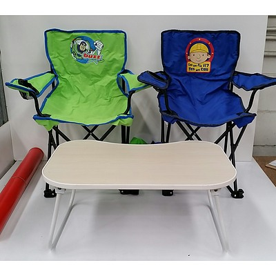 Two Childrens' Bob The Builder and Buzz Lightyear Camping Chairs With Mini Table