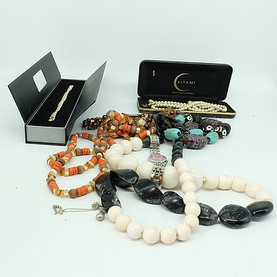 Group of Decorative Beaded Jewellery, A Ladies Quartz Wristwatch, and 925 Clasp Set of Pearls