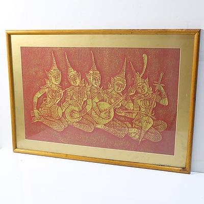 Thai Rubbing, Kath MacAdam Bush Scene, Bark Collages and Offset Prints
