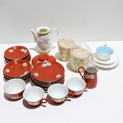 Noritake Red 3 Person Set with other Assorted China Pieces
