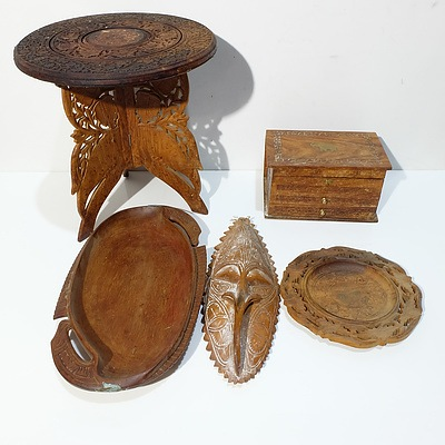 Carved and Pierced Indian Teak Low Table, Indian Teak Bowl, Papa New Guinea Mask, and more