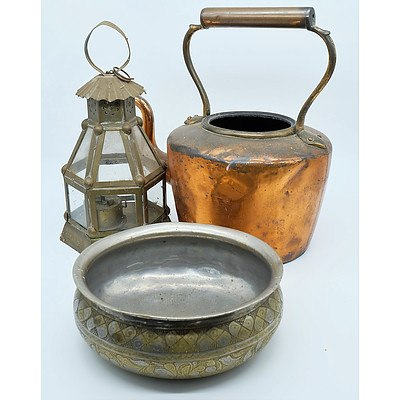 Copper Teapot, Mills Decorative Engraved Bowl and a Lantern