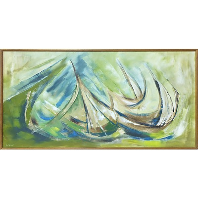 Norma Holt Abstract Sail Boat Oil on Canvas
