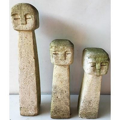 Three Cast Composite Garden Sculptures