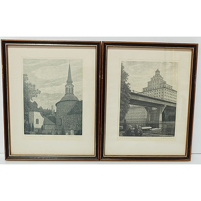 Four Waldemar Bernhard (1890-1965) Engravings Editions 53 of 200