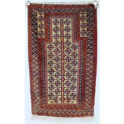 Vintage Eastern Hand Knotted Wool Pile Prayer Rug