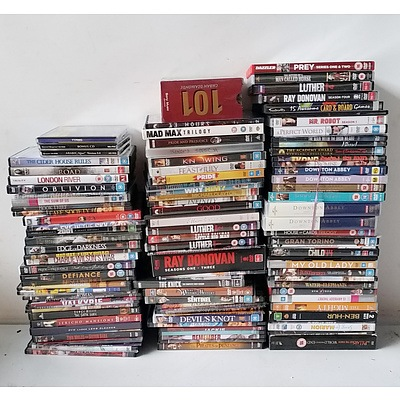 Lot of Aprox 90 DVDs including World War Z, My Big Fat Greek Wedding, and The Complete Set Of Downtown Abbey