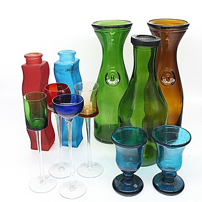 Collection of Colour Glass Including, Jugs, Vases, and Glasses