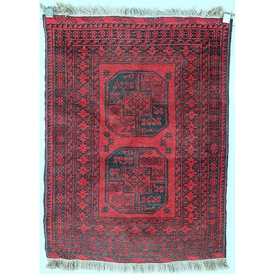 Small Afghan Hand Knotted Wool Pile Rug