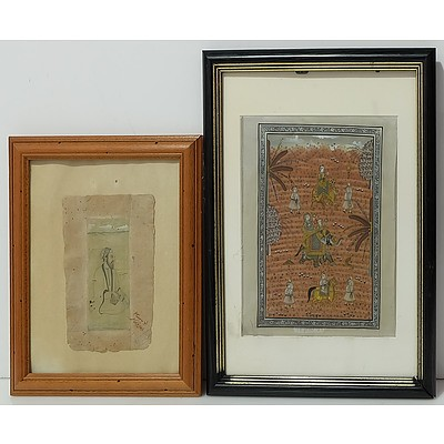 Persian Miniature Painting and an Indian Painting on Fabric
