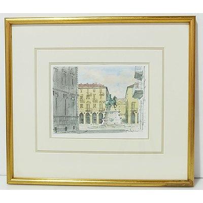 Adriano Sicbaldi (1911-2007) Piazza Bodoni 1986 Watercolor