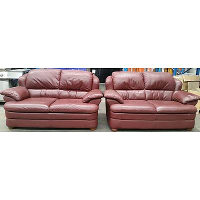Calia Two Seater Leather Sofas - Lot of Two