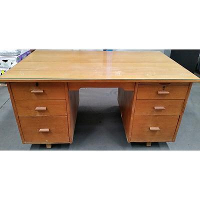 Vintage Ash Veneer Twin Pedestal Desk