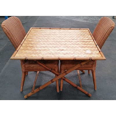 Cane Parquetry Table with Two Woven Cane Dining Chairs