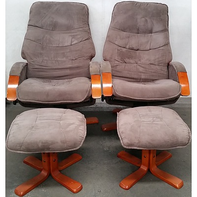 Swivel Recliner Armchairs - Lot of Two