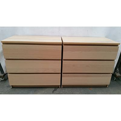 Ash Veneer Chest of Drawers - Lot of Two