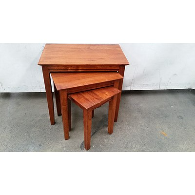 Nest of Three Maple Tables
