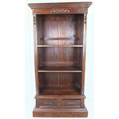 Contemporary Stained Pine Bookcase with Carved Columns and Floral Motif