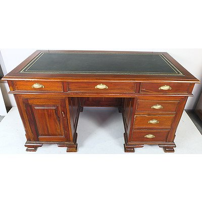 Stained Hardwood Writing Desk with Tooled Leather Top