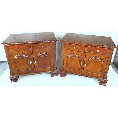 Pair of Decoratively Carved Low Cabinets