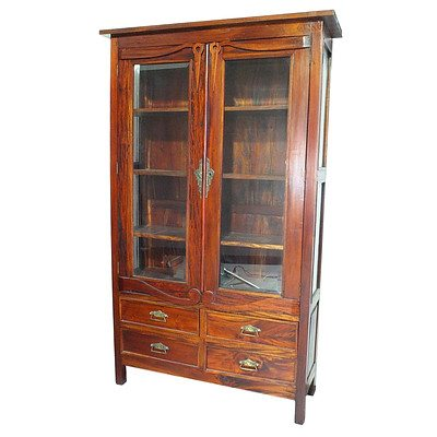 Contemporary Stained Hardwood China Cabinet