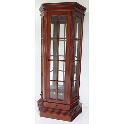 Contemporary Stained Hardwood and Glass China Cabinet
