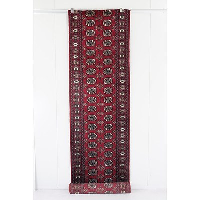 Hand Knotted Eastern Wool Pile Bokhara Runner