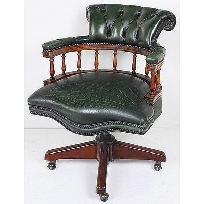 Green Buttoned Leather Upholstered Captains Chair