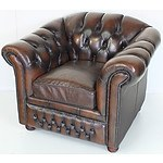 Brown Leather Button Upholstered Chesterfield Armchair