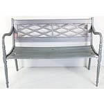 Painted Cast Metal and Hardwood Garden Bench