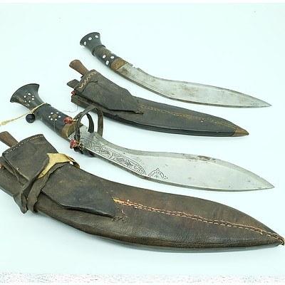 Two Nepalese Gurkha Kukri Knives