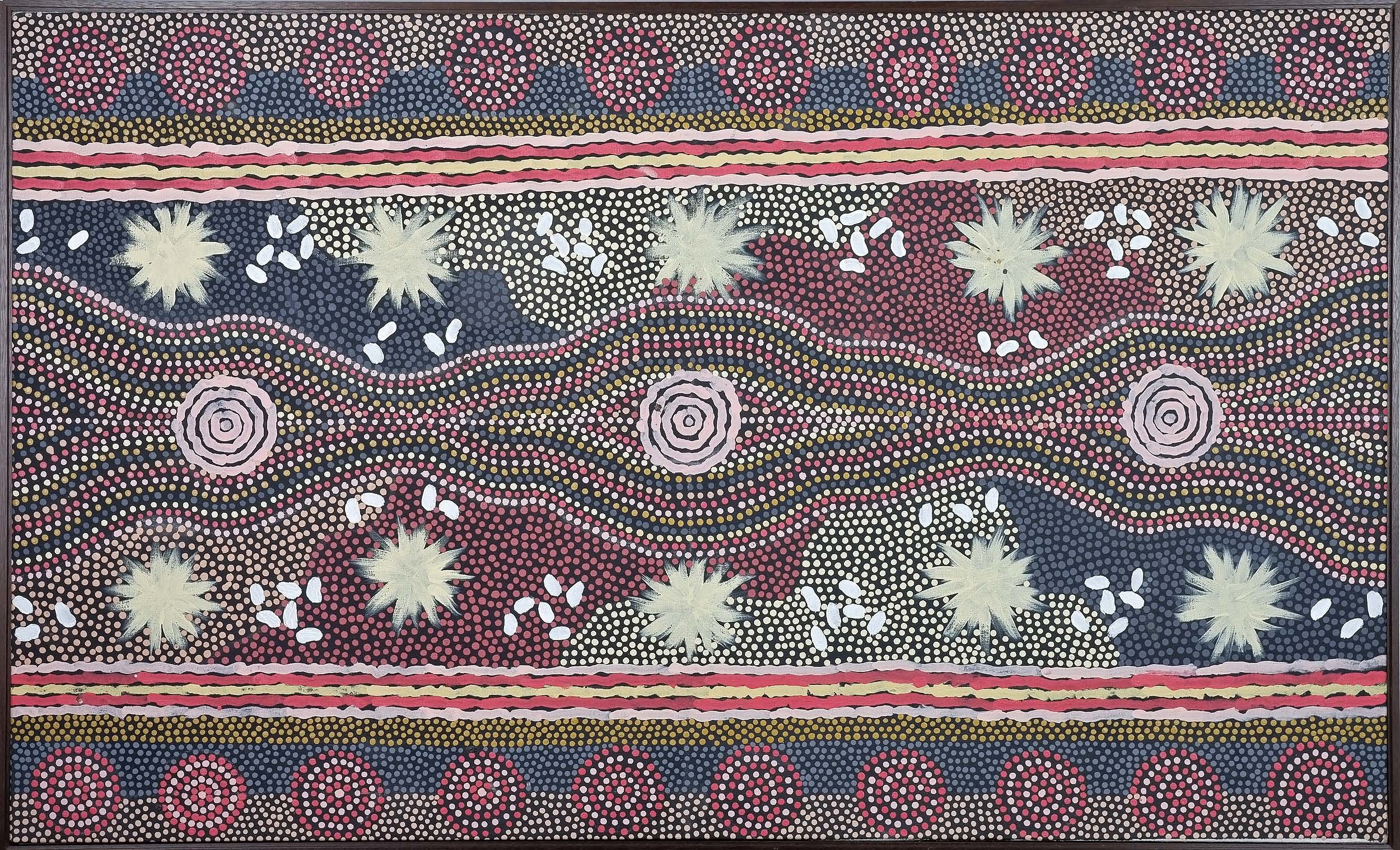 'Clifford Possum Tjapaltjarri (c1932-2002) Grandfathers Story - Bush Foods South of Napperby, Synthetic Polymer Paint on Linen'